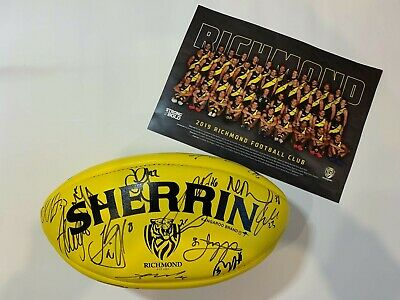 AU1500 • Buy Richmond Tigers Signed 2019 Premiership Sherrin Match Ball And Copy Of Poster