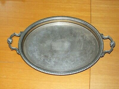 £42.99 • Buy Vintage Silver Plated Shell Twin Handle Oval Gallery Serving Tray Large C1900
