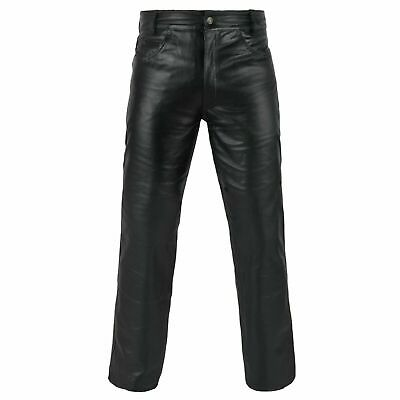 £38 • Buy Genuine Leather Pant Biker Jeans Style Casual Classic Real Leather Black Pants