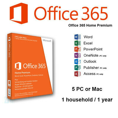 AU137.70 • Buy Microsoft Office 365 Home Premium 1 Year Subscription Licence Key Code Access