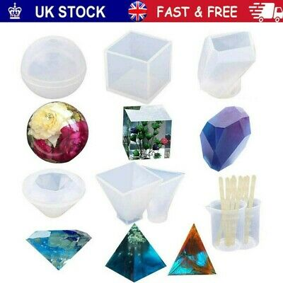 £10.59 • Buy 18x Resin Casting Molds Pyramid Diamond Cube DIY Silicone Epoxy Mould Cup Kit UK