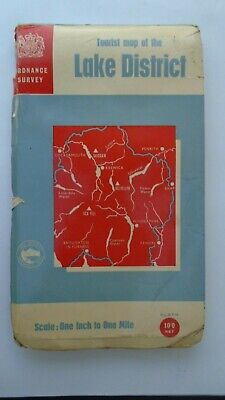 CLOTH Ordnance Survey Map Lake District 1966 Keswick Penrith Kendal Windermere • 4.99£