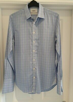£11.99 • Buy Charles Tyrwhitt Extra Slim Fit Double Cuff Blue Check Shirt  Size 15.5   Collar