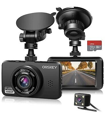 AU69.55 • Buy ORSKEY Dash Cam For Cars Front And Rear With SD Card 1080P Full HD In Car Camera