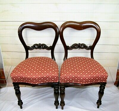 £170 • Buy Pair Antique Victorian Balloon Back Mahogany Upholstered Hall Side Bedroom Chair