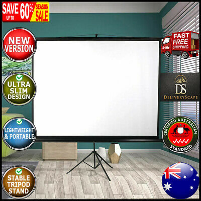 AU115.27 • Buy 100 Inch Projector Screen Tripod Stand Home Pull Down Outdoor Screens Cinema 3D