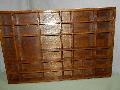 AU32.22 • Buy Older Wooden Wall Shelf Printer Tray Style 36 Miniatures Vertical Or Horizonal