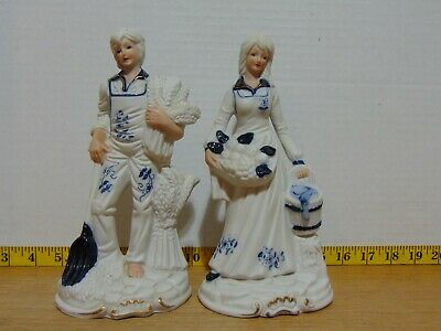$ CDN18.27 • Buy Deville Pottery Porcelain Blue And White Man And Woman Figurines 8 1/2