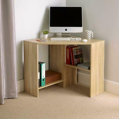 £54.99 • Buy Function Oak Wooden Corner Computer Home Office PC Desk Table With 2 Shelves