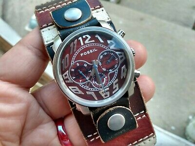 AU26.40 • Buy Fossil Watch Brown Leather Wide Band White Dial Day Indicator