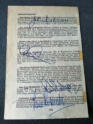 £11.99 • Buy Worcestershire Cricket 1970s Signed Piece By Nine Players