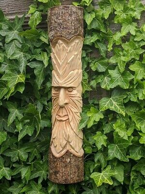£33.99 • Buy Large Hand Carved Green Man Tree Wall Plaque Figure Garden Ornament 50cm Statue