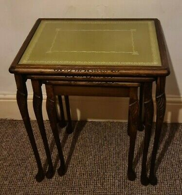 Vintage Nest Of Tables Wooden Glass Topped Original Green Tabletops Set Of 3... • 20£