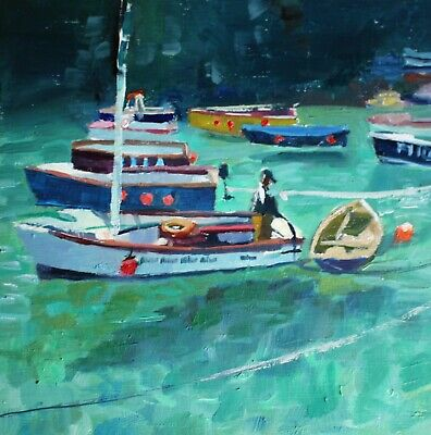 Christian Twelftree Oil Painting 18x18cm Boats In Turquoise Sea Original Artwork • 0.99£