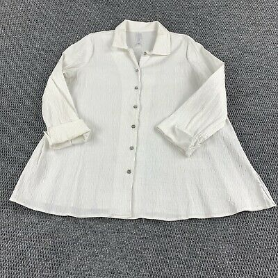 $26.40 • Buy Marla Wynne Womans Large Blouse Button Shirt Large Textured White Stretch Fabric