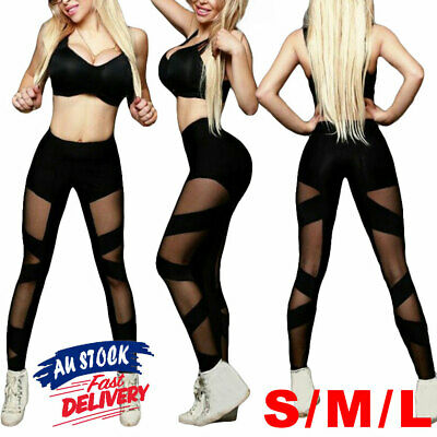 AU15.95 • Buy Yoga Pants Fitness Gym Jogging Leggings Trousers Mesh Sports Women High Waisted