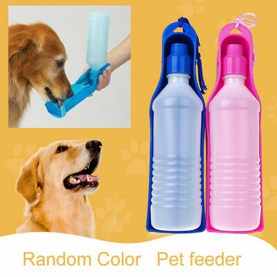 PET TRAVEL WATER BOTTLE Portable Fordable Dog Cat Drink Feeding Bowl 500ml New • 3.69£