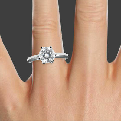 AU1706.55 • Buy 1/2 CT Solitaire Enhanced Diamond Round Cut H/I1 18K White Gold Engagement Ring