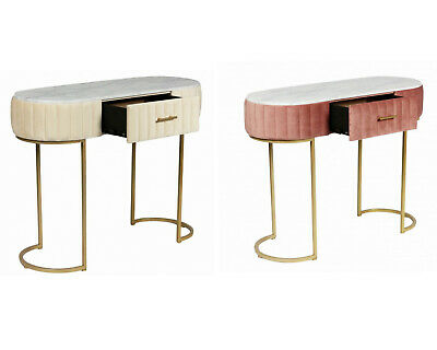 AU249.95 • Buy Dressing Table In Velvet W Marble Look Pink Cream Side Table Stand W Drawer