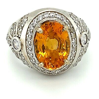 £99.38 • Buy Madeira Citrine 3.05ct Platinum Finish Solid 925 Sterling Silver Ring New Natura