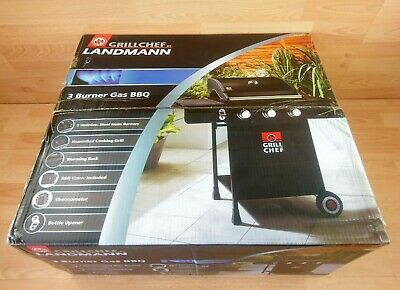£215 • Buy LandMann Grill Chef 3 Burner Gas BBQ Cover Professional BBQ Thermometer Bottle