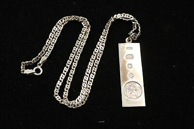 Vintage .925 Sterling Silver Sheffield 2000 St Christopher INGOT NECKLACE (17g) • 30£