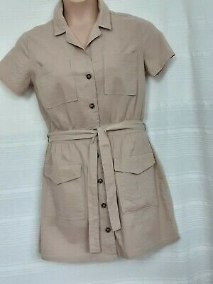 H&M Natural Short Sleeve Casual Safari Dress Size 14 With Tie Belt  • 4.25£