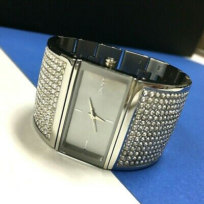 $ CDN49.78 • Buy DKNY Silver Bracelet Style WATCH Wide Pave Crystals Rhinestone Square Face QQ14o