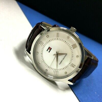$ CDN37.33 • Buy TOMMY HILFIGER Plum Purple WATCH Leather Band Round White Face Silver QQ16