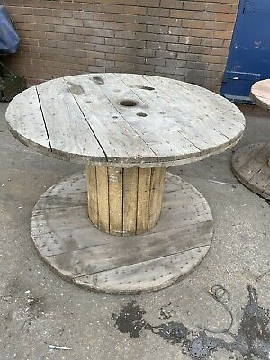 Wooden Electric Cable Drum Perfect As Coffee Patio Table • 30£