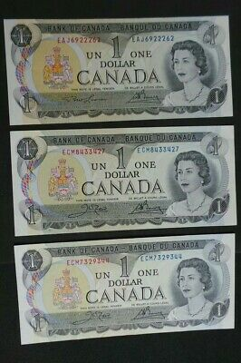 Canada, 3 Uncirculated, 1 Dollar Notes, 1973. Both Signature Versions. P# 85 A/c • 5£