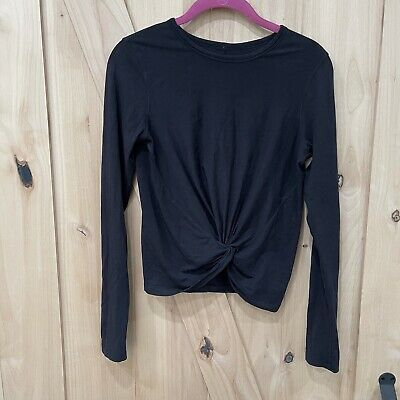 $ CDN54.59 • Buy Lululemon Crescent Long Sleeve Black Size 4 Twist Front Shirt Top Knotted