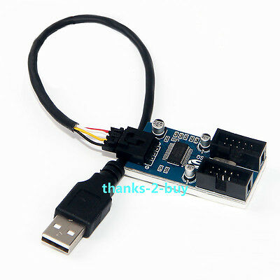 AU5.22 • Buy USB 2.0 Male 1 To 2 Port 9Pin USB Header Female Extension Cable Multiplier HUB