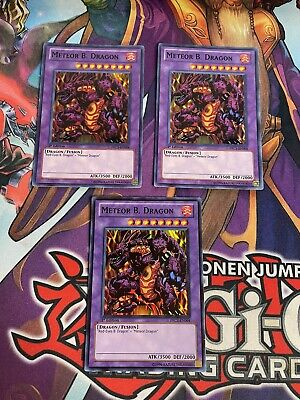 Yugioh! Meteor B. Dragon PRC1 X3 Playset Super Rare 1st Edition VLP/NM • 7.77£
