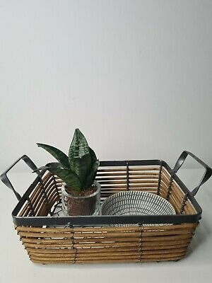 £12.99 • Buy Wicker Metal Basket Planter Fruit Table Egg Flower Centerpiece Farm Country Chic