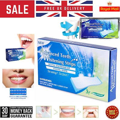 AU18 • Buy 28 Advanced Teeth Whitening Strips (14 Pouches) Home Teeth Bleaching Genuine