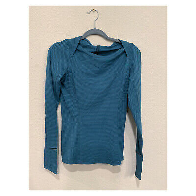 $ CDN15.71 • Buy Lululemon Womans Teal Gray Striped Pullover Thumbholes Top Sz 4