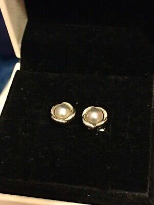 AU49 • Buy PANDORA Grey Freshwater Pearl Sterling Silver Stud Flower Earrings Retired