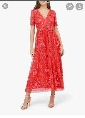£70 • Buy Monsoon Valentina Dress, Coral, Size 12. New With Tags.