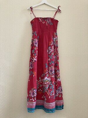 £14 • Buy Monsoon Midi Dress 10 12 38 40 Strappy Floral Border Coral Turquoise Bandeau Vgc