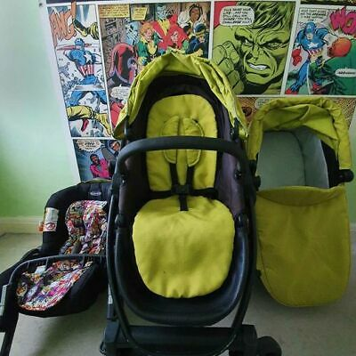 Graco Evo Green Full Buggy Travel System. Carseat, Pram Seat, Cot & Accessories • 45£