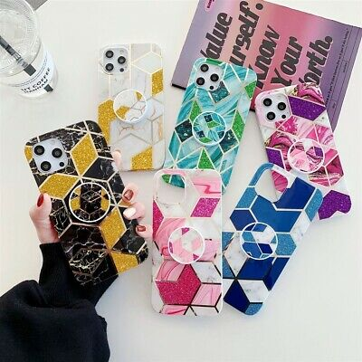 AU9.85 • Buy HOT Glitter Marble Phone Case With Holder For IPhone Xsmax X XR 11 12Mini 8Plus