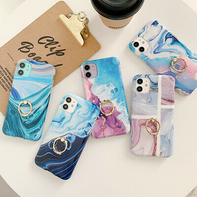 AU9.07 • Buy Gradient Marble Phone Back Soft Case With Ring For IPhone 12 XR 11 8Plus XsMax 7
