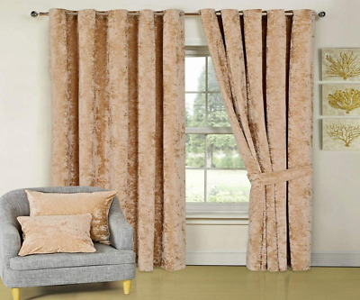 £17.99 • Buy Curtains, Crushed Velvet Pair Fully Lined Ring Top Eyelet With Free Tie Bac