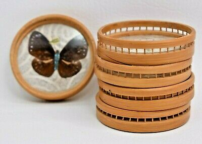 £12.02 • Buy Vintage Butterfly Set Of 5 Bamboo Drink Coasters Coaster Set 1970s Retro Décor