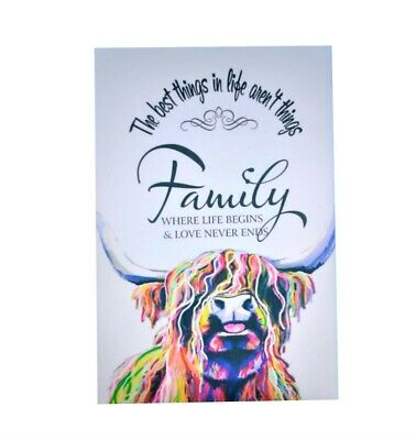 £7.95 • Buy Family Quote Highland Cow Colourful Animal Wall Art Printed Framed Canvas
