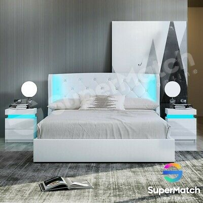 AU369.59 • Buy Double Size Gas Lift Storage Bed Frame Leather Wood LED Bedroom Furniture White