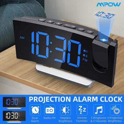 AU46.88 • Buy Mpow Digital LED Projection Snooze Alarm Clock FM Radio With USB Phone Charger