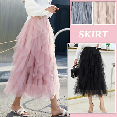 Women High Waist Ruffle Tulle SKIRT Ladies Casual Party Pleated TUTU Sheer Dress • 12.46£