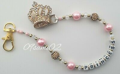 £7 • Buy ❤ Bling Personalised Dummy Clip Shamballa & Crystal Diamante Crown Romany!!❤gold